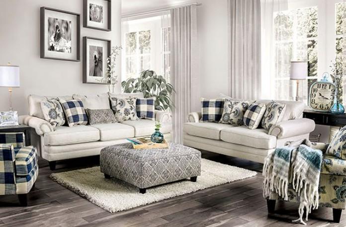 SM8101 2 pc Canora grey Mandalay nash ivory linen like fabric sofa and love seat set