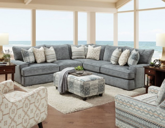 SM8186 2 pc Darby home Co. Eastleigh blue chenille fabric sectional sofa