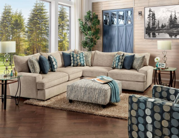 SM8187 2 pc Darby home Co. Eastleigh tan chenille fabric sectional sofa