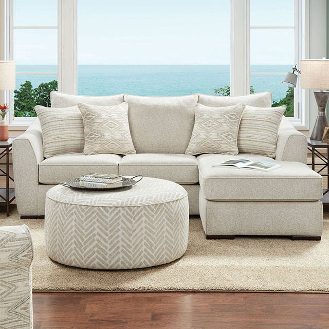 SM8192 2 pc Canora grey saltney ivory chenille fabric sectional sofa with chaise