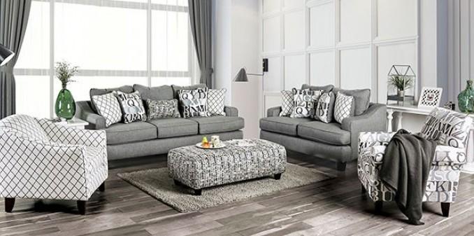 SM8330 2 pc Charlton home verne bluish grey linene like fabric sofa and love seat set