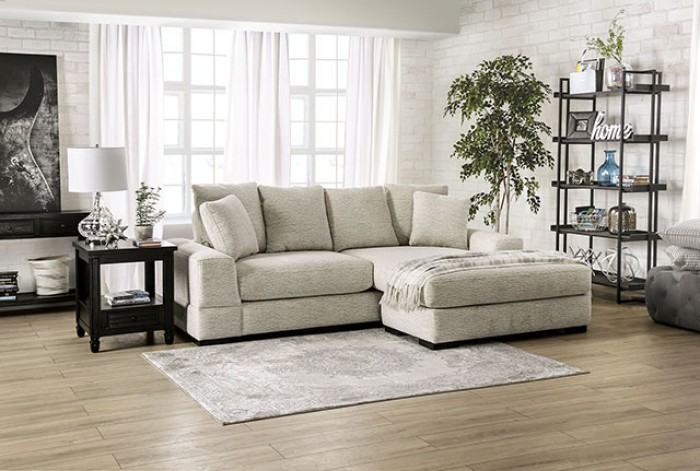SM9112 2 pc Canora grey Ainsley beige chenille fabric sectional sofa with chaise