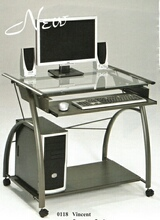 Vincent metal and glass computer desk with clear glass top and slide out keyboard tray