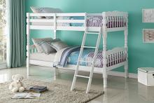 Acme 02298 Homestead white finish wood twin over twin bunk bed set