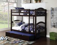 Acme 02554 Harriet bee beeching heartland espresso finish wood twin over twin bunk bed set with trundle