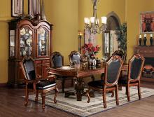 Acme 04075-10038 7 pc chateau de ville cherry finish wood double pedestal dining table set