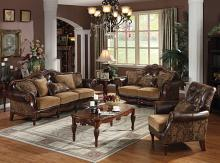 Acme 05495-96 2 pc dreena two tone chenille fabric bonded leather sofa and love seat set