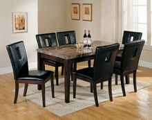 7 pc Danville collection black marble top dining table set with black bycast vinyl upholstered side chairs