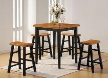 Acme 07285 5 pc Gaucho counter height bar table set oak black finish wood
