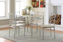 100035 5 pc Ebern designs mayflower brushed silver dining table set