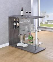 100156 Home bar unit modern style weathered gray finish bar unit