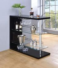 100165 Ebern designs teeken modern style black high gloss finish bar unit with tempered glass shelves