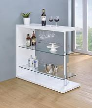 100167 Wildon home fairline modern style white high gloss finish bar unit with tempered glass shelves