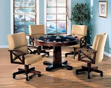 100171-72 5 pc marietta man cave walnut brown finish wood game room table , poker, bumper pool, dining