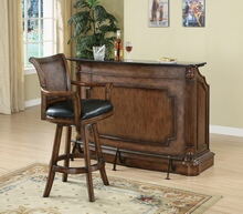 Home bar unit traditional style warm brown finish wood with decorative front and foot rail