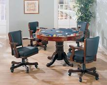 100201-02 5 pc mitchell man cave cherry finish game room table set, poker, bumper pool, dining table