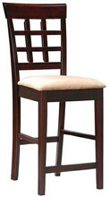 Set of 2 espresso finish wood counter height chairs with upholstered seat and grid back