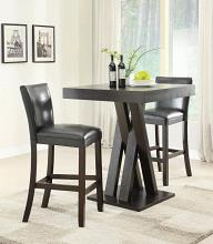 100520 3 pc Rec room espresso finish wood bar height dining table set