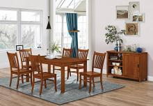 100621-22-23 7 pc meadowbrook medium brown wood finish dining table set