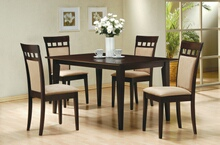 100771-73 5 pc chicago ii collection espresso finish wood rectangular top dining table set
