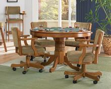 100951-52 5 pc mitchell man cave oak finish wood game dining poker table