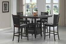 100958 5 pc Wildon home greenwood jaden espresso finish wood square counter height pedestal dining table set