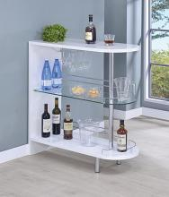 101064 Ebern designs kahoka modern style white high gloss finish bar unit with tempered glass shelves