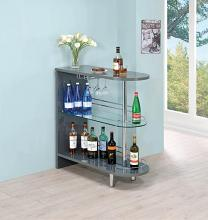 101073 Home bar unit modern style glossy gray finish bar unit
