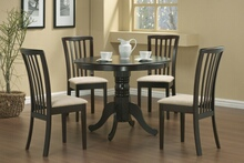 101081 5 pc Alcott hill smithers everett brannan espresso finish wood mission style round dining table set