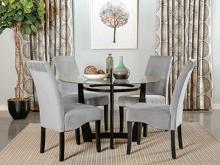 "101490 5 pc Wildon home wesley bloomfield espresso finish wood 48"" round glass top dining table set"