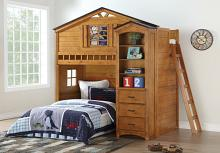 Acme 10160 Tree house style rustic oak finish wood kids loft bed bunk bed set