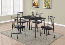 DINING SET - 5PCS SET / BLACK METAL AND TOP