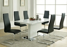 7 pc nameth modern ii collection white high gloss finish top pedestal base dining table set with padded chairs