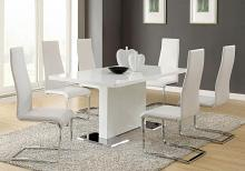 102310-100515WHT 5 pc nameth modern white high gloss finish pedestal base dining table set