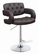 102556 Brown faux leather adjustable height bar stool chrome base