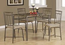 DINING SET - 5PCS SET / ESPRESSO MARBLE / BRONZE METAL