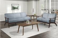 Homelegance 1032BGY-2PC 2pc Carlson mid century modern blue gray velvet fabric sofa and love seat set