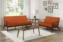 Homelegance 1032RN-2PC 2pc Carlson mid century modern orange velvet fabric sofa and love seat set