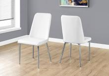 """DINING CHAIR - 2PCS / 37""""H / WHITE LEATHER-LOOK / CHROME"""