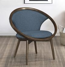 Homelegance 1033F3S Lowery mid century modern walnut finish wood blue textured fabric accent chair