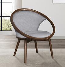 Homelegance 1033F4S Lowery mid century modern walnut finish wood gray herringbone fabric accent chair