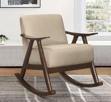 Homelegance 1034BR-1 Waithe mid century modern dark walnut finish wood light brown textured fabric rocking chair