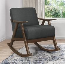 Homelegance 1034DG-1 Waithe mid century modern dark walnut finish wood dark gray textured fabric rocking chair