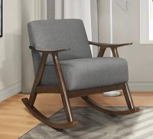 Homelegance 1034GY-1 Waithe mid century modern dark walnut finish wood gray textured fabric rocking chair