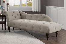 Homelegance 1044BR-5  Blue hill brown textured fabric tufted chaise lounger with wood trim accents