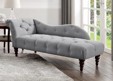 Homelegance 1044DV-5  Blue hill dove gray textured fabric tufted chaise lounger with wood trim accents