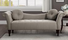 Homelegance 1045BR-3 Adira brown textured fabric settee bench with tufting and throw pillows