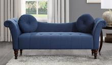 Homelegance 1045BU-3 Adira blue textured fabric settee bench with tufting and throw pillows