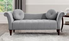 Homelegance 1045DV-3 Adira dove grey textured fabric settee bench with tufting and throw pillows