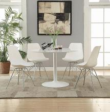 "105261A 5 pc Lowry white finish metal 40"" round dining table set"